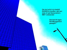 Om de lucht in je bedrijf ZUIVER te houden, zijn een stuk of wat Sansevieria's NIET voldoende! Dat heb IK tegen Het Management gezegd!