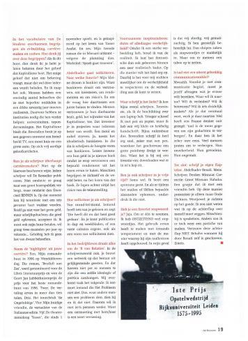 AIESEC A4 Magazine - november 2001 - Interview Anders - Schrijver Abdelkader Benali - 4-4