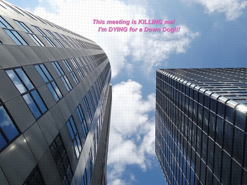Yoga Op Het Werk: Deze vergadering is killing! I am dying for a Down Dog!