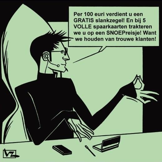 Per 100 euri verdient u een GRATIS slankzegel! En bij 5 VOLLE spaarkaarten trakteren we u op een SNOEPreisje! Want we houden van trouwe klanten!