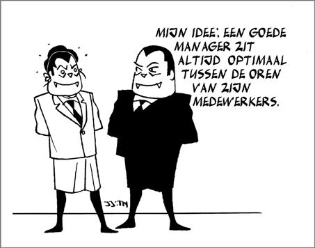 Mijn idee: Een goede manager zit altijd optimaal tussen de oren van zijn medewerkers.